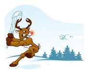 Reindeer with Red Nose Playing Baseball in Snow royalty free illustration