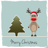 Reindeer red nose santa claus hat Stock Photos