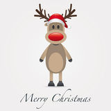 Reindeer red nose santa claus hat Stock Image