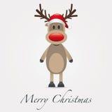 Reindeer red nose santa claus hat Stock Image