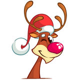 Reindeer red nose in Santa Claus hat. Vector cartoon Stock Images
