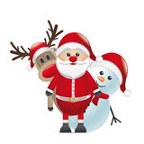 Reindeer red nose santa claus snowman Royalty Free Stock Image