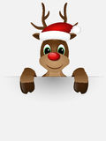 Reindeer with red nose and Santa hat. Stock Images