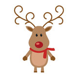 Reindeer red nose with scarf Stock Photo