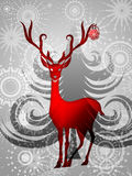 Reindeer with Red Ornament on Silver Background. Reindeer with Red Ornament on Silver Sun Star Tree Background Illustration Royalty Free Stock Photography