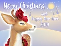 Reindeer with red roses standing in the snow vector illustration