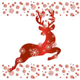 Reindeer in red , vector. Christmas Greeting Card with Reindeer in red , vector Royalty Free Stock Photo