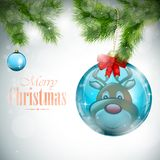 Reindeer Reflection In Christmas Ball Royalty Free Stock Photos