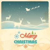 Reindeer in retro Christmas holiday background. Illustration of Reindeer in retro Christmas holiday background Stock Photos