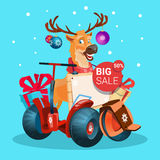 Reindeer Ride Electric Scooter Christmas Holiday Shopping Sale Banner Happy New Year Stock Photo