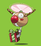 Reindeer robot and red gift box Stock Photos
