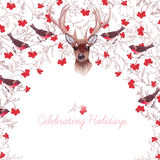 Reindeer, rowanberry, bullfinches and tree branches round vector Royalty Free Stock Image