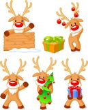 Reindeer Rudolph. Five separately grouped little Rudolphs. Vector illustration Royalty Free Stock Photos