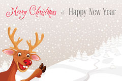 Reindeer Rudolph in corner of snowflake landscape background Stock Photo
