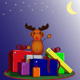 Reindeer Rudolph with presents Stock Image