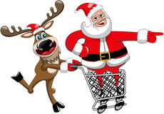 Reindeer Running Pushing Cart Santa Claus Indicating Isolated Royalty Free Stock Image