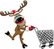 Reindeer Running Pushing Empty Cart Isolated Stock Photo