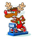 Reindeer running on treadmill Royalty Free Stock Image