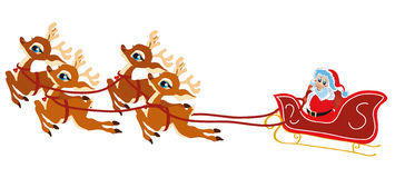 Reindeer Santa Claus. Vector illustration shows a reindeer-drawn Christmas Santa Claus stock illustration