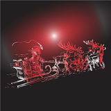 Reindeer and Santa Claus  with Christmas background and greeting card vector Stock Photo
