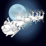 Reindeer and Santa Claus  with Christmas background and greeting card vector Stock Photography