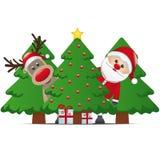 Reindeer santa claus christmas tree gift Royalty Free Stock Photo