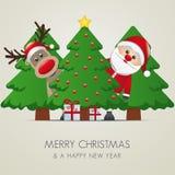 Reindeer santa claus christmas tree gift Royalty Free Stock Image