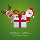 Reindeer santa claus gift box Royalty Free Stock Photo