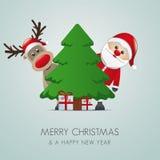 Reindeer santa claus gift box tree Stock Photos