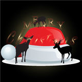 Reindeer and Santa Claus hat  with Christmas background and greeting card vector Royalty Free Stock Photos