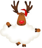 Reindeer with santa claus hat holding blank cloud Stock Photos