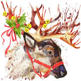 Reindeer Santa Claus. Reindeer Santa illustration with splash watercolor textured background Stock Photos