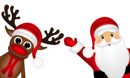 Reindeer and Santa Claus on the side of a white background Stock Photos
