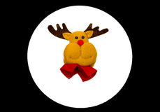 Reindeer and Santa face near wooden Christmas tree Royalty Free Stock Photos