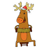 Reindeer and Santa hat Stock Image