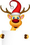 Reindeer and Santa hat with blank sign Royalty Free Stock Photos