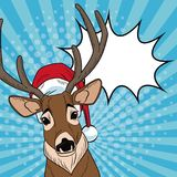 Reindeer with santa hat and bubble Christmas pop art. Vector illustration graphic Stock Image
