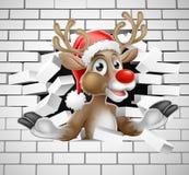 Reindeer in Santa Hat Cartoon Breaking Brick Wall Stock Images