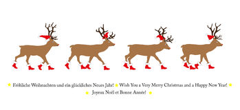 Reindeer with Santa hat and Santa boots, Royalty Free Stock Images