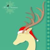Reindeer Santa. Merry Christmas-  Reindeer Santa is coming to town Stock Photo