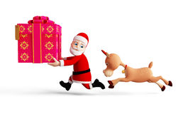 Reindeer and Santa is running Royalty Free Stock Image