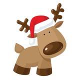Reindeer in Santa`s hat Stock Photos