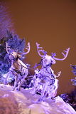 Reindeer and santa's sleigh. Santa Claus's sleigh with reindeer in snow Stock Image