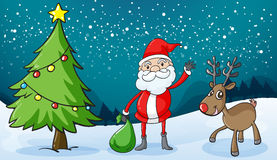 A reindeer and santaclause Royalty Free Stock Photo