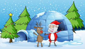 A reindeer and santaclause Stock Photo