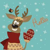 Reindeer says hello. At vector greeting card Stock Image