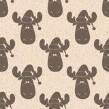 Reindeer seamless pattern. Vintage Christmas and New Year reindeer seamless pattern background deer in Santa`s hat. Winter holidays pattern Stock Photo