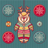 Reindeer. Set of color Christmas toys. Stock Photo