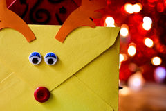 Reindeer-shaped letter to santa Royalty Free Stock Image