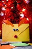 Reindeer-shaped letter to santa Stock Image